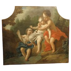 Antique Italian Oil on Canvas Trumeau Painting of Musical Cherubs, Circa 1750
