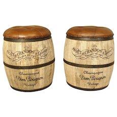 Pair of Vintage Moet Chandon Barrel Stools or Ottomans