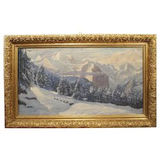 The Swiss Alps in Winter, Large Oil on Canvas by Hans August Haas 1866-1943