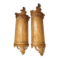 Rare Pair of 18th Century Hanging Corner Cupboards from Napoli, Italy