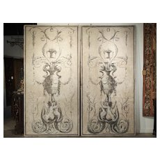 Pair of Large Neoclassical Grisaille Paintings from Siena Italy, Circa 1810