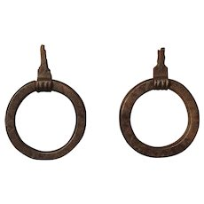 Pair of 17th Century Forged Iron Door Knockers from Tuscany