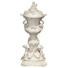 Highly Detailed Antique French Lidded Bisque Urn, Circa 1900