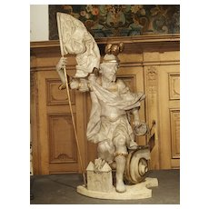 Antique Carved and Painted Statue of St. Florian. Austria, Circa 1700