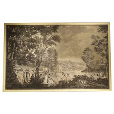 Large Scale Antique Italian Panoramic Park Scene Painting, 19th Century