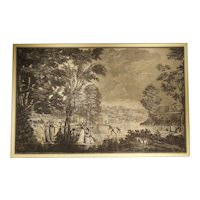 Large Scale Antique Panoramic Park Scene by Joseph Dufour, Circa 1805
