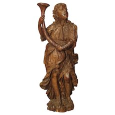 Circa 1650 Carved Hardwood Figural Cornucopia Statue from Italy