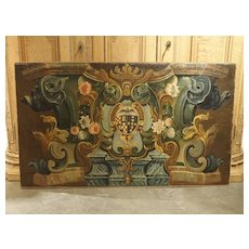 17th Century Italian Coat of Arms Oil on Canvas Painting