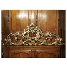 Sculpted Antique Giltwood Overdoor or Headboard from Italy, Circa 1850
