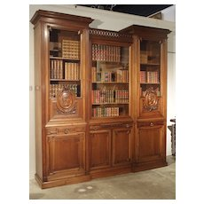 Antique Walnut Wood Louis XVI Style Bibliotheque from France, Circa 1880