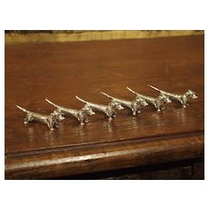 Set of Six Dachshund Porte-Couteaux from France, Circa 1950s