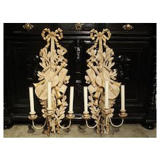 Pair of Carved Louis XVI Style Musical Trophy Sconces from France
