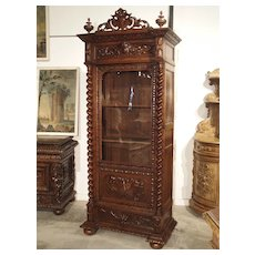 Antique French Oak Vitrine with Musical Carvings and Turned Columns, Circa 1890