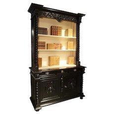 Ebonized French Napoleon III Open Bookcase with Turned Columns, Circa 1860