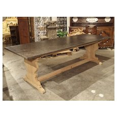 A French Bleached Oak Dining Table with Charcoal Gray Marble Top, Circa 1930s