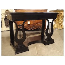 Antique French Neoclassical Lyre Base Console Table in Ebonized Mahogany