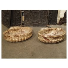 Pair of Italian Carved Breccia Pontificha Marble Sinks