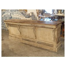 Large Antique Painted Wooden Counter or Bar from France, Circa 1880