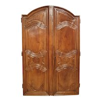 Pair of 17th Century French Walnut Wood Armoire Doors