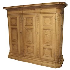 19th Century 3-Door French Oak Sacristy Cabinet in the Regence Style