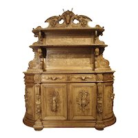 "Richly Carved French Hunt Buffet ""St. Hubert"" in Blonde Oak, Circa 1890"