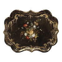 A Fine Antique English Painted Tray with Mother of Pearl Insets, Circa 1850