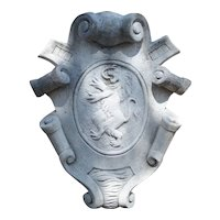 Limestone Wall Plaque With Rampant Lion and Carved Scrolls