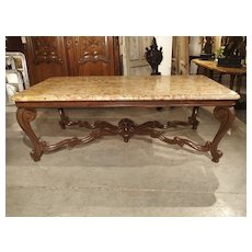 Antique French Louis XV Style Dining Table with Breche D'Alep Marble Top, Late 1800s