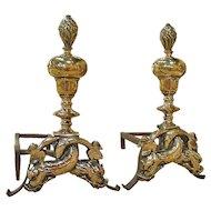 Pair of Period Louis XIV Bronze Andirons