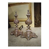 Pair of Antique Louis XIV Style Silvered Bronze Andirons  France, 1800's