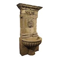 Large Carved Limestone Wall Fountain from France