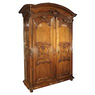 "Early 1700's French Walnut Wood Chateau Armoire, ""The Order of Saint Louis"""
