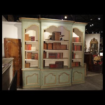 A Grande French Regence Style Painted Bibliotheque from Toulouse