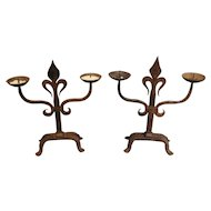 Pair of French Fleur De Lys Forged Iron Candelabras