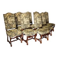Set of 8 Pegged Oak and Tapestry Covered French Os De Mouton Dining Chairs