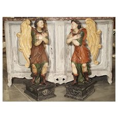 Pair of Large Carved and Painted 17th Century Angels from Italy