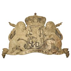 A Large Partially Stripped Antique Coat of Arms Plaque, Circa 1910