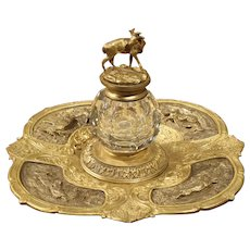 19th Century French Bronze and Crystal Inkwell with Animal Motifs