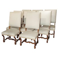 Set of 8 Large Carved Fruitwood Os De Mouton Dining Chairs