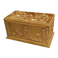 Antique French Neoclassical Gilt Bronze Table Casket, Late 19th Century