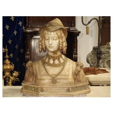 Antique Italian Carved Alabaster Bust of the Grand Princess of Tuscany, Circa 1890