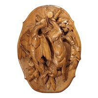 An Exceptional Antique French Trophy Carving with Rabbit and Bird, Circa 1830