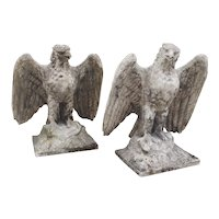 Pair of Large English Cast Stone Opposing Eagles, Circa 1920s