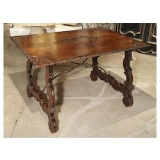 18th Century Catalan Table with Forged Iron Stretchers