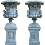 Pair of Large Medici Style Urns on Pedestals from France