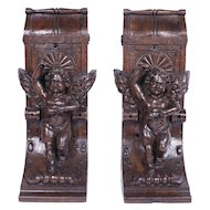 Pair of 19th Century Carved French Oak Corbels