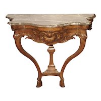 Beautiful French Marble Topped Antique Wooden Console from the Regence Period (1715-1723)
