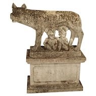 Antique Statue of the Capitoline Wolf of Rome, Carved Pietra di Vicenza Stone, Circa 1910