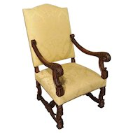Antique French Walnut Wood Armchair, Circa 1890