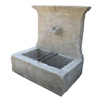 French Limestone Wall Fountain with Carved Stone Spout